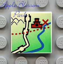NEW Lego MOUNTAIN PASS TREASURE MAP 2x2 Printed WHITE FLAT TILE - Orient/Pirate