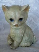 Collectible Vintage Made in Japan Hand Painted Ceramic Cat Figurine - Blue Eyes
