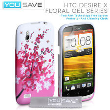 Yousave Accessories HTC Desire X Floral Bee Pattern Silicone Gel Case Cover UK