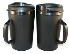 2 Foam Insulated 34 oz ThermoServ Travel Mugs Black