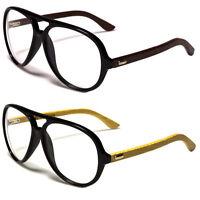 80s Clear Lens Pilot Fashion Glasses Sunglasses Retro Vintage  Wood Side N