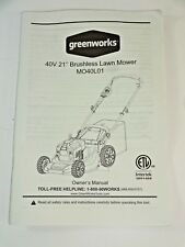 "Greenworks 40V 21"" Brushless Dual Mower 2508502 Oem Part - Instruction Booklet"