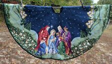 "Gorgeous handmade Wool Needlepoint CHRISTMAS TREE SKIRT 41"" Nativity"
