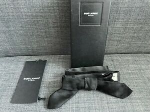Saint Laurent Black Silk Twill Skinny Clip On Bow Tie