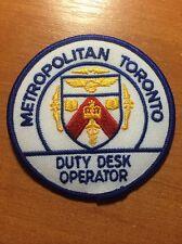 PATCH POLICE CANADA - METROPOLITAN TORONTO DUTY DESK OPER. ( ONTARIO )-ORIGINAL!