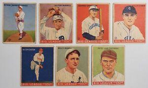 Lot of 7 1933 Goudey Gum Big League Baseball Cards Yankees Giants White Sox +