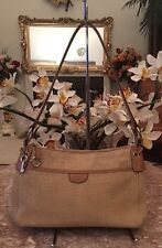 Fossil Beige Canvas Leather Trim Hobo Shoulder Handbag Purse W/ Key EUC