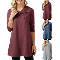 ❤️Women Long Sleeve Button Tunic Tops Ladies Casual Loose Jumper Blouse Pullover