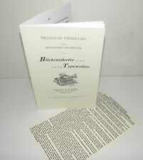 Blickensderfer 5 Typewriter Instruction Sheet & Practice/Operating Brochure