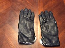 Black Leather rabbit fur lined gloves Size M Driving Gloves Women
