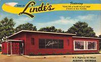 Linen Postcard Linde's Restaurant in Albany, Georgia~112495