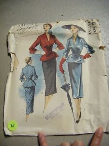 Vtg 40s ADVANCE IMPORTED Jacket & Skirt Sewing Pattern #61 Size 14/Bust 34(N)