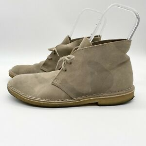 Clarks Originals Men's Suede Light Camouflage Chukka Ankle Boots Tan Size 11 M
