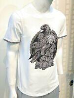 Mens Laverita Short Sleeve Slim Fit T-Shirt White Black Eagle Skulls Rhinestones