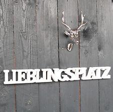 Lieblingsplatz Schriftzug aus Holz 60cm weiß Buchstaben Wanddeko Holzschild NEU