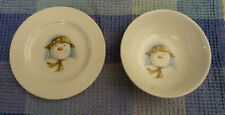 Vintage 1985 Royal Doulton SNOWMAN Child's Small Cereal Bowl & Plate Set England