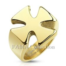 Unique FAMA Stainless Steel Iron Cross Gold IP Ring Size 9-15