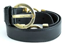 Auth Salvatore Ferragamo gold tone Buckle black leather Belt SIZE 26 in/ 65 cm