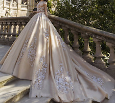 2017 Bubble Weeding Dress Long Train Bridal Ball Gown Custom Made Size 2 4 6 8++