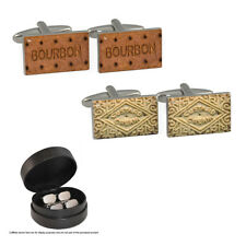 Bourbon Biscuit & Custard Cream Cufflink Set in Leather Gift Case fun tea NEW