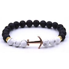 Stylish Mens Rose Gold Anchor Bracelet Natural Agate 8mm Black Beaded Lava Stone