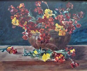 vase of still life flowers,wallflowers, by Owen Bowen, watercolour