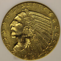 1912 Gold $5 Indian Half Eagle, Uncirculated NGC MS-61 [#615]