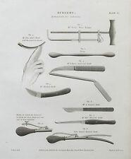 18-19 CHIRURGIA CHIRURGICI lithotomy strumenti antica STAMPA INCISIONE ETR