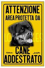 ROTTWEILER AREA PROTETTA TARGA ATTENTI AL CANE CARTELLO PVC GIALLO