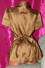 Shiny lightly elasticated mustard faux satin shirt blouse top size 18
