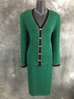 BEAUTIFUL St John collection knit green black jacket skirt suit size 10