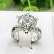 Moissanite Heart Prong 4Ct Engagement Ring 14k White Gold Certified Round Real