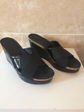 Russell & Bromley Black Wedge Slip On Shoes Sandals Size 5