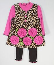 Girls Bonnie Jean 3pc Brown & Pink Leopard Print Outfit Tunic Top & Leggings 2T