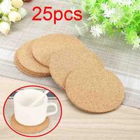 25pcs 10cm Plain Round Cork Coasters Cup Mat For Coffee Drink Tea Wine Placemats