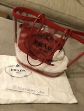NWT Prada Transparent Red PVC Tote Bag with Leather Trim MSRP $1100