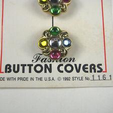 Art Wear Jonas Lot of 5 Button Covers Goldtone Rhinestones 1 In Vintage 1992