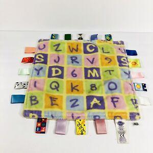 Taggies ABC 123 Baby Tiny Blanket Alphabet Fleece Security Lovey Tags Yellow