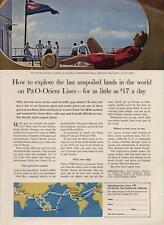 1962 P&O Orient Lines Cruise Ship the '$17 a Day'  PRINT AD