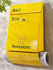 Briefkasten Gelb aus galvanisiertem Metall rostfrei Zeitungsfach Wandbriefkasten