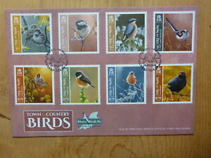 2019 ISLE OF MAN TOWN & COUNTRY BIRDS SET OF 8 STAMPS FIRST DAY COVER