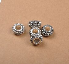 100Pcs Big Hole Czech Crystal Rhinestone Pave Rondelle Spacer Bead Fit European