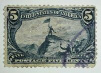 Travelstamps: 1898 US Stamps Scott # 288, Rocky Mountains, used, ng, 5 cents,