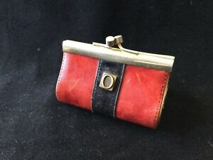 VINTAGE RETRO OROTON LEATHER COIN PURSE - DEEP RED AND NAVY BLUE