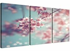 Duck Egg Blue Pink Shabby Chic Blossom Floral Canvas Split 3 Panel - 3280