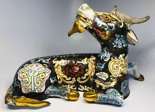 Antique 1920s Chinese Hand-Painted Enamel on Copper Dragon Figure