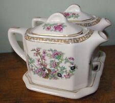 Vintage Matched Pair  Shenago India Tree Double Teapot set matching china tray