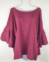 Women's New 5X Plus Size Burgundy Boho Ruffle Sleeve Top Blouse Tunic NWT