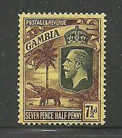 Album Treasures Gambia  Scott # 111  7 1/2p George V Elephant MH