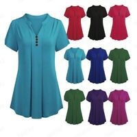Woman S-6XL Plus Size Short Sleeve V Neck Loose T Shirt Casual Tunic Tops Blouse